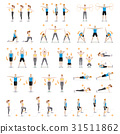 Man and woman workout fitness exercises.  31511862