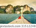 boat swims to the island,Krabi,Thailand 31512248