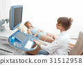Woman getting knee ultrasound scanning examination 31512958