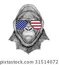 Gorilla, monkey, ape Frightful animal Hand drawn 31514072