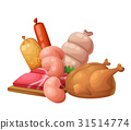 sausage, meat, vector 31514774