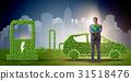 Electric car concept in green environment concept 31518476