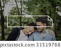 Rectangular Scroll Ribbon Logo Label 31519768
