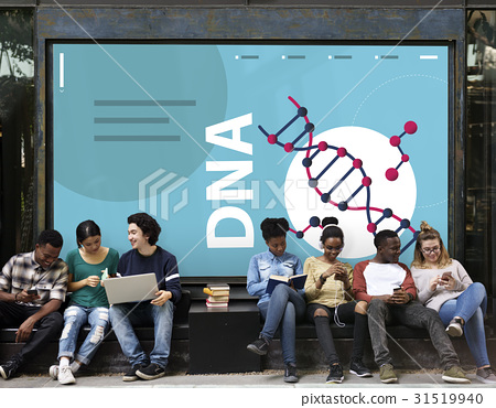 Group of students dna strand graphic on the wall 31519940
