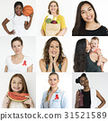 Collection of people with red ribbon for HIV/AIDS awareness 31521589