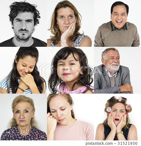 Set of Diversity People Face Expression Emotion Studio Collage 31521930