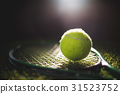 Close up of tennis ball with racket 31523752