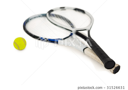 Tennis ball and rackets on white background 31526631