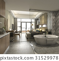 bed, bathtub, luxury 31529978