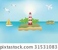 바다에 떠있는 등대의 풍경 31531083