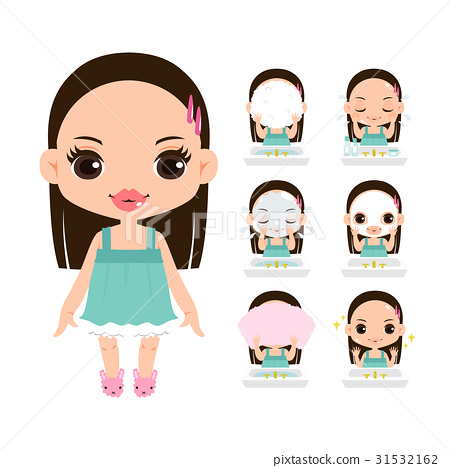 一套清潔和滴下化妝的女孩的插圖 31532162