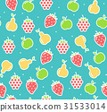Apple, Strawberry and Pear Fruit Background 31533014