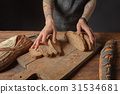 bread, cut, knife 31534681