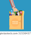 Paper shopping bag full of groceries products 31536437
