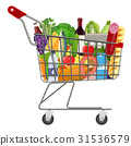 Metal shopping cart full of groceries products. 31536579