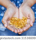 Handful of gel capsules of omega 3.  31536699