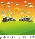 Mountain landscape on pop up paper cut style 31538120