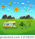 mountain park camping  with family trailer caravan 31538201
