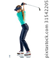 woman golfer golfing isolated 31542205