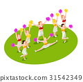 Cheerleading Isometric Illustration 31542349
