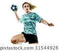 young teenager girl woman Handball player isolated 31544926