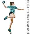 young teenager girl woman Handball player isolated 31544928