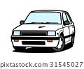 80年代風 国産箱形セダン 白 31545027