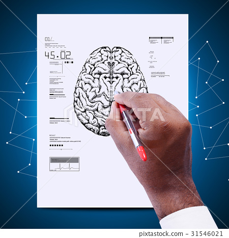 Man drawing the sketch of brain 31546021