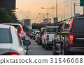 traffic jam with row of cars on high way  31546668