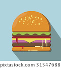 Hamburger flat style vector illustration. 31547688
