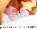 Portrait of newborn baby girl in warm winter 31548856