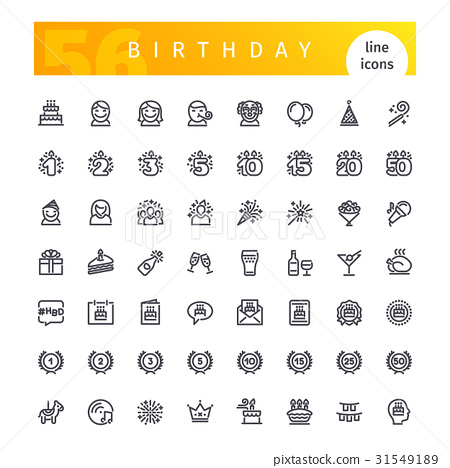 Birthday Line Icons Set 31549189