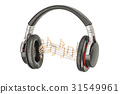 Headphones with music notes, musical concept 31549961