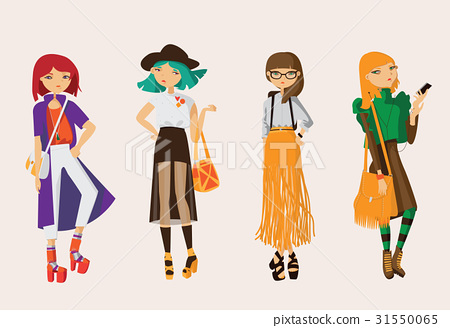 Lovely set young hipster girls drawn in casual 31550065