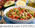 Healthy salad with tuna,cherry tomatoes, avocado. 31551051