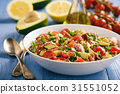 Healthy salad with tuna,cherry tomatoes, avocado. 31551052