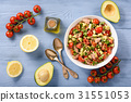 Healthy salad with tuna,cherry tomatoes, avocado. 31551053