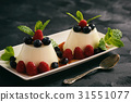 Italian dessert  with berries and caramel sauce. 31551077
