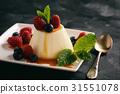 Italian dessert  with berries and caramel sauce. 31551078