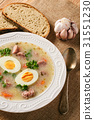 White sour soup with sausages and eggs. 31551230