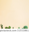 Cactus tops on a muted yellow background 31553861