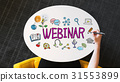 Webinar text on a white table 31553899