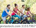 黑色 騎腳踏車者 準備好了的 31557967