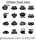 Chinese food icon set Vector illustration  31561285