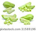 set of fresh chayote isolated on white background 31569196