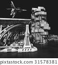 futuristic city with the modern skyscraper 3D 31578381
