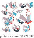 Isometric icons of mobile phones, laptop 31578882
