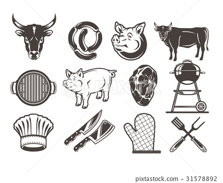 Set grill and barbecue icons 31578892