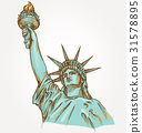 statue of liberty hand dawn on background 31578895