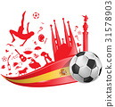spain flag with soccer ball 31578903
